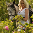 Blonde girl with a horse — Stockfoto