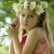 Little girl in a wreath of white flowers — Stock Photo