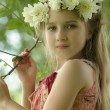 Stock Photo: Little girl in a wreath of white flowers