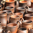 National culture ceramic handmade brown jugs — Stock Photo