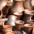 Stock Photo: National culture ceramic handmade brown jugs