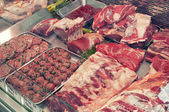 Meat-butcher's shop — Stock Photo