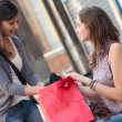 Two Grils While They Speak after to Have Made a Shopping — Stock Photo #11541378