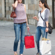 Stock Photo: Two Grils While They Speak after to Have Made Shopping