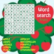 Word search game.Fruits — Stock Vector