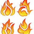 Stock Vector: Vector set: fire flames - collage