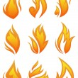Vector set: fire flames - collage — Stock Vector #11446430