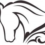Silhouette black horse — Stock Vector