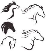 頭の黒い馬のセット — ストックベクタ