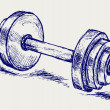 Sketch dumbbell weight - Vettoriali Stock