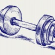 Sketch dumbbell weight - Image vectorielle