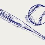 Baseball and Bat — Stock Vector