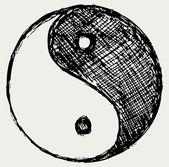 Ying yang sketch symbol — Stock Vector