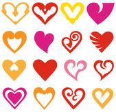 Vektor srdce sada — Stock vektor