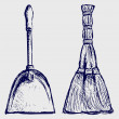 Stock Photo: Broom and dustpan