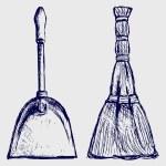 Broom and dustpan — Stock Photo