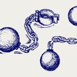 Вредительство мяч и цепи — Стоковое фото