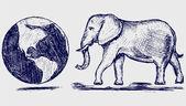 Elephant and planet — Stock Photo