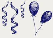 Curling ström och ballonger — Stockfoto