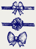 Set gift bows with ribbons — Stock Photo