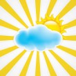 Stock Vector: Sun with cloud