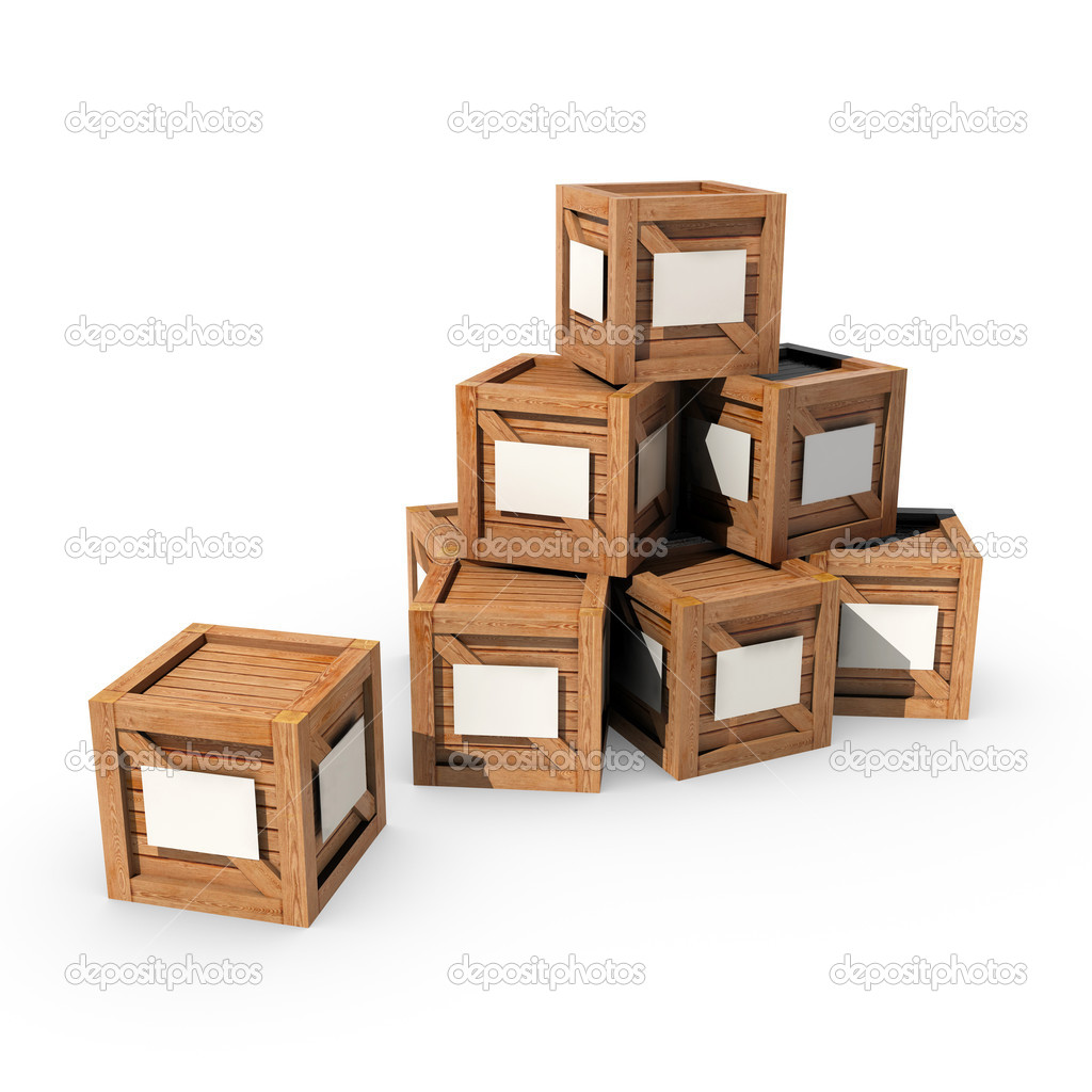 A pile of wooden crates with white labels  Stock Photo #11969550