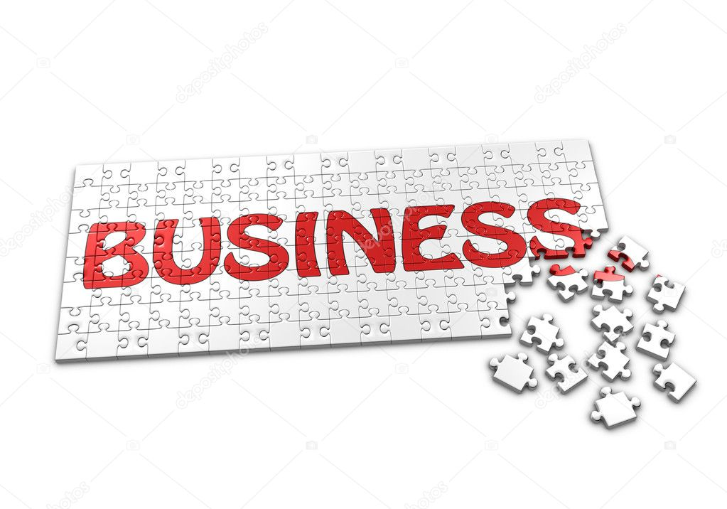 A Puzzle projecting the word Business with seperated pieces  Stock Photo #11969603