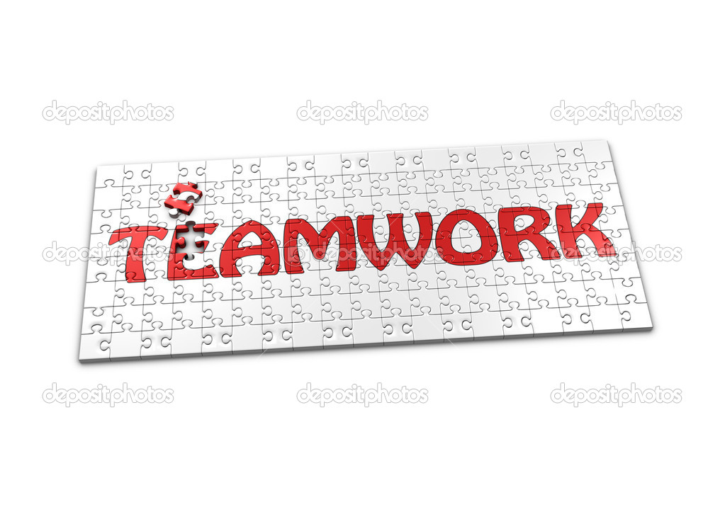 A Puzzle projecting the word Teamwork with a seperated piece — Stock Photo #11969642
