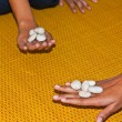 Playing Dibs ,The classical  Thai children game — Stock Photo
