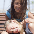 Two happy  girls are together — Stockfoto