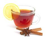 Çay limon, anason star ve tarçın — Stok fotoğraf