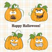 Funny halloween pumpkins - stickers — Stock Vector