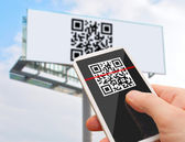 QR Code on Smartphone — Stock Photo