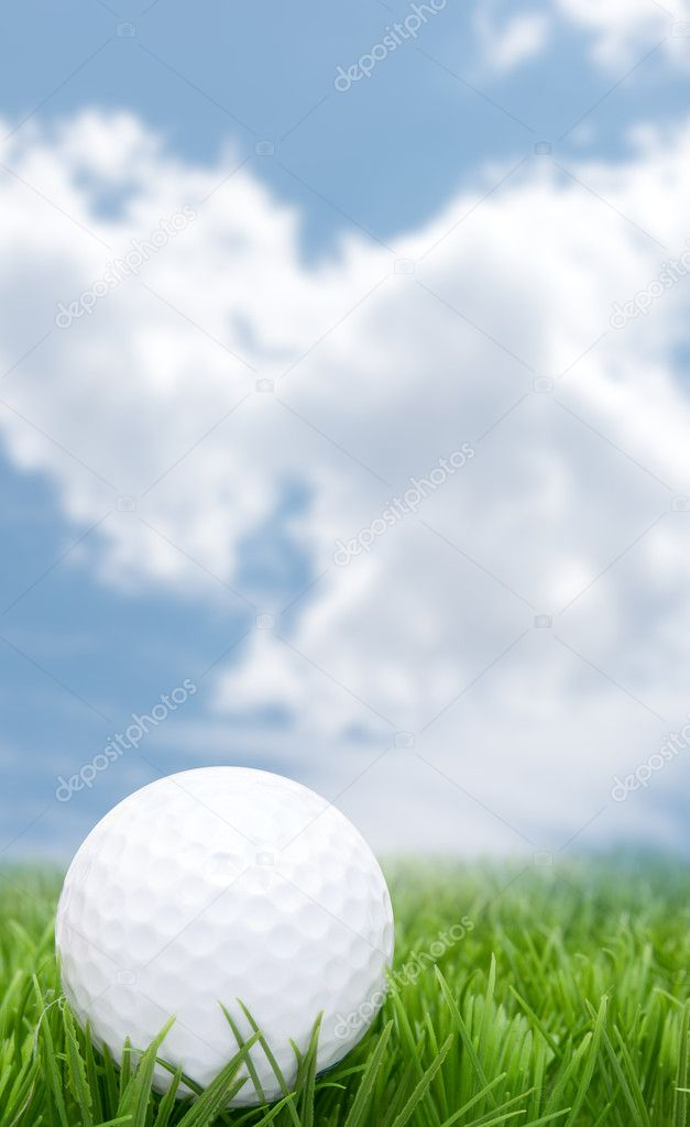 Golf Ball in Grass and Blue Sky  Foto de Stock   #11029538