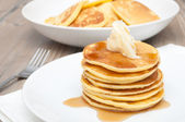 Pancakes With Butter and Maple Syrup — Stock Photo