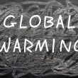 """Global Warming"" written on a chalkboard - Foto de Stock"