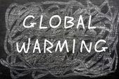 """""""Global Warming"""" written on a chalkboard — Stock Photo"""