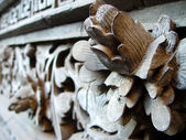 Ancient wood carving art of lotus — Stock Photo