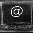 Internet symbol on a portable computer — Stock Photo