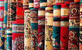 Persian blankets at a market — Stock Photo
