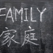 Stock Photo: Family - word written on blackboard