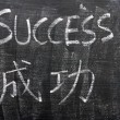 Stock Photo: Success - word written on blackboard with Chinese translation