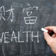 Stock Photo: Wealth - word written on blackboard with Chinese version