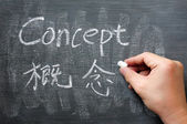 Concept - word written on a smudged blackboard — Stock Photo