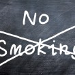 No smoking written on a smudged blackboard — Stock Photo