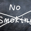 Stock Photo: No smoking written on a smudged blackboard