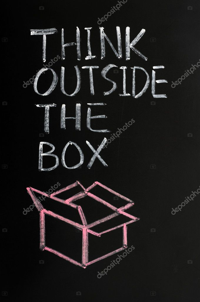 Concept of &quot;Think Outside the box&quot; drawn with chalk on a blackboard  Stock Photo #11135181