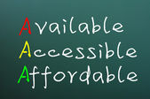 Acronym of AAA for available, accessible and affordable — Stock Photo