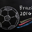 Royalty-Free Stock Photo: Chalk drawing of Football World Cup Brazil 2014