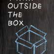 "Chalk drawing - concept of ""Think outside the box"" — Stock Photo"